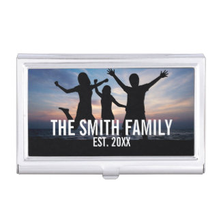 Personalized Family Photo with Family Name Business Card Holder