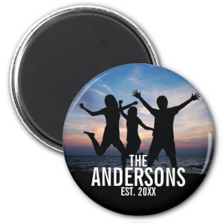 Personalized Family Photo with Family Name Magnet