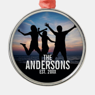Personalized Family Photo with Family Name Metal Ornament