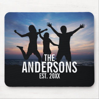 Personalized Family Photo with Family Name Mouse Pad