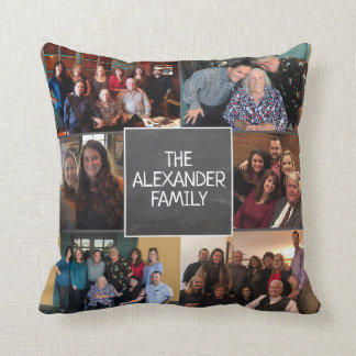 Personalized Family Photos Chalkboard Modern Throw Pillow