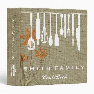 Personalized Family Recipe Cookbook Burlap 3 Ring Binder