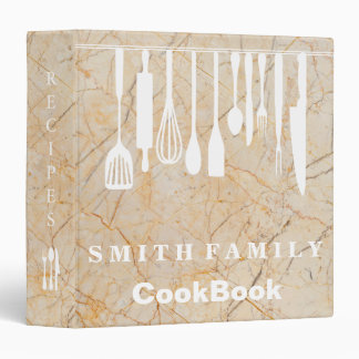 Personalized Family Recipe Cookbook Marble Binders