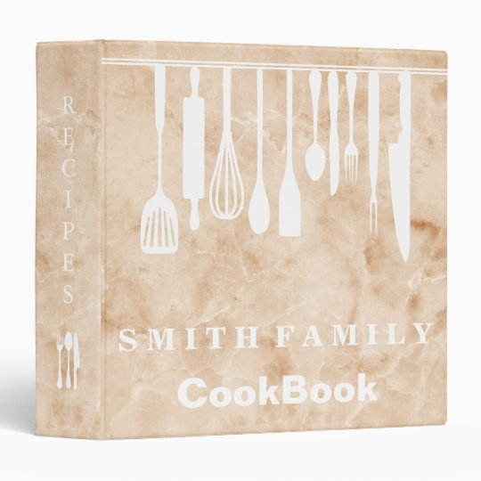 Personalized Family Recipe Cookbook Marble Vinyl Binders