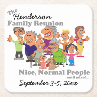 Personalized Family Reunion Funny Cartoon Square Paper Coaster
