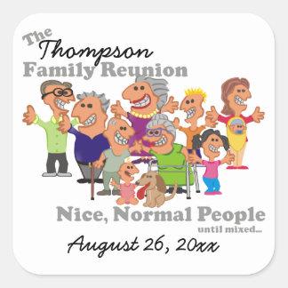 Personalized Family Reunion Funny Cartoon Square Sticker