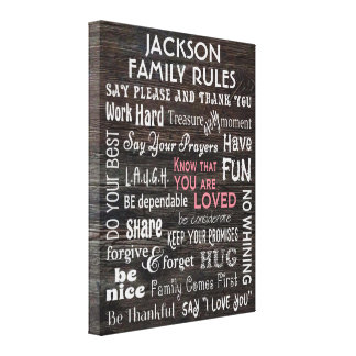 """Personalized """"Family Rules"""" Canvas Print"""