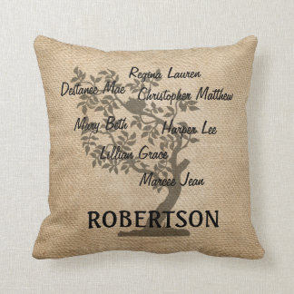 Personalized Family Tree Burlap Add 7 Names Throw Pillow