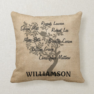 Personalized Family Tree Burlap Add Names Throw Pillow