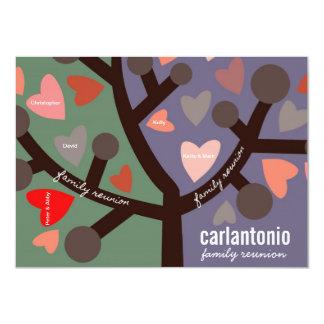 """Personalized Family Tree & Hearts Family Reunion 4.5"""" X 6.25"""" Invitation Card"""
