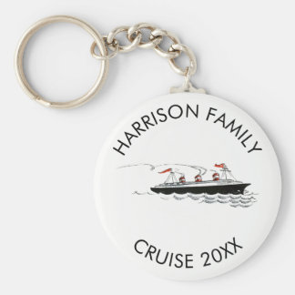 Personalized Family Vacation Cruise | Vintage Ship Basic Round Button Keychain