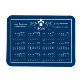 Personalized Fancy Fleur de Lis 2014 Calendar Rectangular Photo Magnet