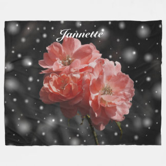 Personalized Fantasy Rose Fleece Blanket