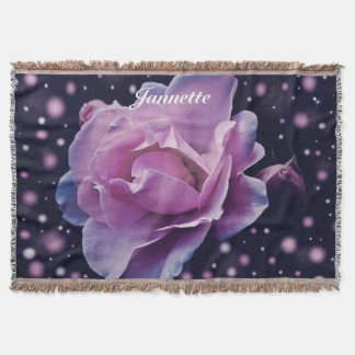 Personalized Fantasy Rose Throw Blanket