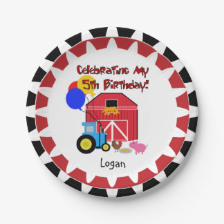 Personalized Farm 5th Birthday Paper Plates