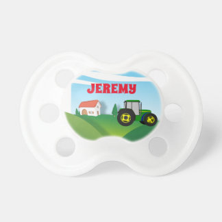Personalized Farm with Green Tractor Pacifier