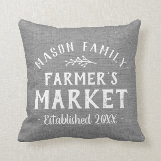 Personalized Farmer's Market Grain Sack Throw Pillow
