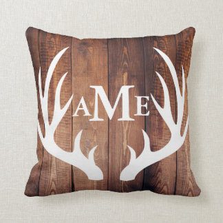 Personalized - Farmhouse Barn Wood Deer Antlers Throw Pillow
