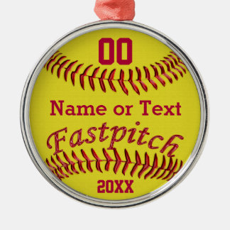 Personalized Fastpitch Softball Gifts for Girls Silver-Colored Round Ornament