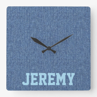 Personalized Faux Blue Denim Square Wall Clock