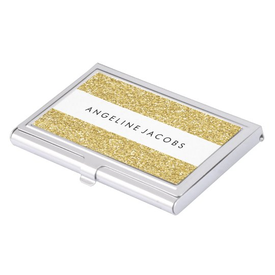 Personalized Faux Glitter Business Card Case