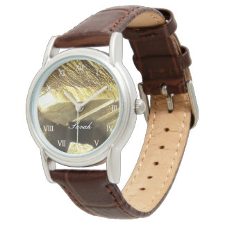 Personalized faux gold brown leather band womens watch