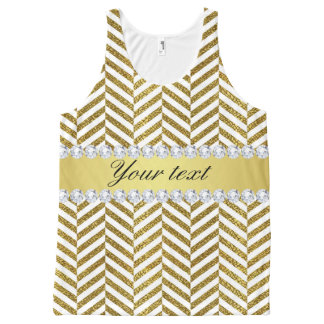 Personalized Faux Gold Foil Chevron Bling Diamonds All-Over-Print Tank Top