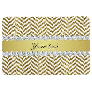 Personalized Faux Gold Foil Chevron Bling Diamonds Floor Mat
