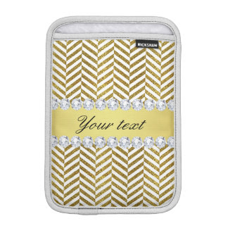 Personalized Faux Gold Foil Chevron Bling Diamonds iPad Mini Sleeve
