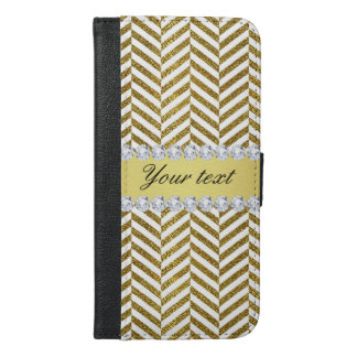 Personalized Faux Gold Foil Chevron Bling Diamonds iPhone 6/6s Plus Wallet Case