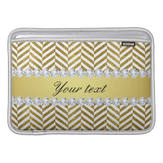 Personalized Faux Gold Foil Chevron Bling Diamonds MacBook Air Sleeve