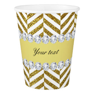 Personalized Faux Gold Foil Chevron Bling Diamonds Paper Cup