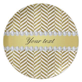 Personalized Faux Gold Foil Chevron Bling Diamonds Plate
