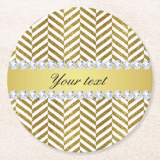 Personalized Faux Gold Foil Chevron Bling Diamonds Round Paper Coaster