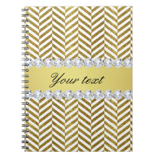 Personalized Faux Gold Foil Chevron Bling Diamonds Spiral Notebook
