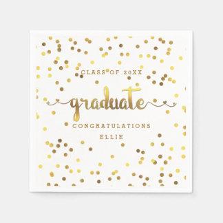 Personalized Faux Gold Foil Confetti Graduation Paper Napkins