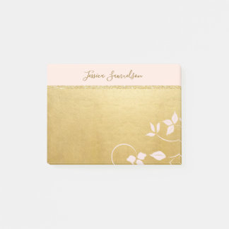 Personalized Faux Gold Foil & Pink | Add NAME Post-it Notes