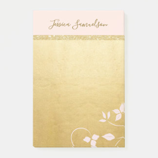 Personalized Faux Gold Foil & Pink   Add NAME Post-it Notes
