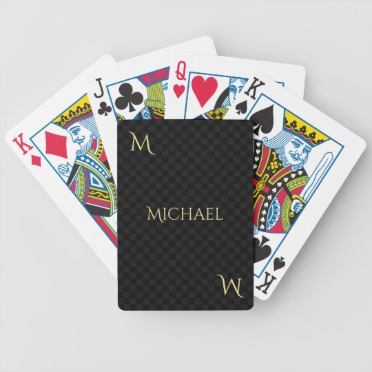 Personalized Faux Gold Monogram Name Checks Poker Bicycle Playing Cards