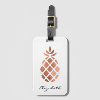 Personalized faux rose gold foil pineapple luggage tag