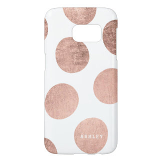 Personalized faux rose gold hand drawn polka dots samsung galaxy s7 case