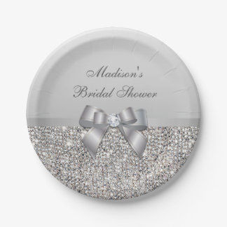 Personalized Faux Silver Sequins Bow Bridal Shower 7 Inch Paper Plate