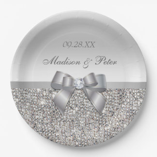 Personalized Faux Silver Sequins Bow Wedding Paper Plate