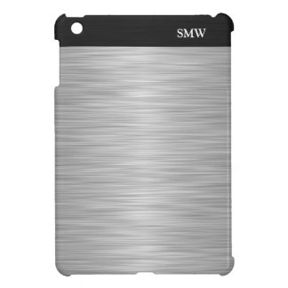 Personalized Faux Stainless Steel and Black iPad Mini Covers