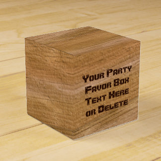 Personalized Faux Wooden Favor Boxes, Your Text Favor Box