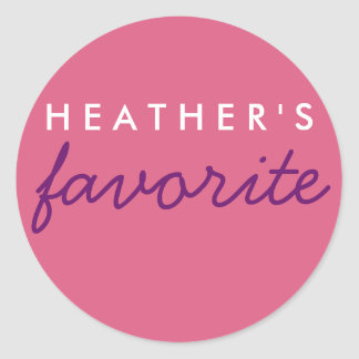 Personalized Favorite Pink and Purple Classic Round Sticker