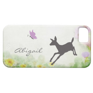 Personalized Fawn and Butterfly Deer iPhone Case