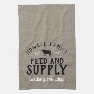 Personalized Feed Supply Grain Sack Kitchen Towel