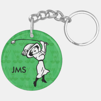 Personalized female golf cartoon golfer Double-Sided round acrylic keychain