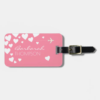 personalized feminine & elegant pink love luggage tag